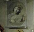 Détail, portrait du bouffon jouant du luth, dans Autoportrait avec symboles de vanités, David Bailly