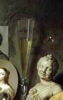 Détail, portrait disparaissant, Autoportrait avec symboles de vanités, David Bailly