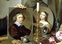 Détail, portraits sur la table, Autoportrait avec symboles de vanités, David Bailly