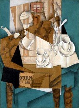 Juan Gris (1887-1927), Le Petit Déjeuner, 1914. Collage de journaux, papiers, crayon. MoMA