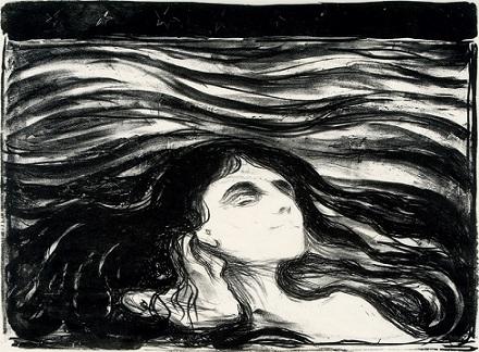 Amants dans les vagues, lithographie, 1896. (C.) RMN