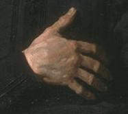 Frans Hals, l'homme à la main sur le cœur, détail