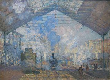 La Gare Saint-Lazare, Claude Monet, 1877. Domaine public.