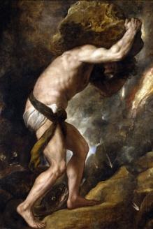 Titien, Le châtiment de Sisyphe, huile sur toile,237 x 216 cm, 1548-1549,