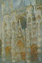 La Cathédrale de Rouen, harmonie en bleu et or, huile sur toile, Claude Monet, 1893. Source : Paris, Musée du Jeu de Paume, documentation photographique de la Réunion des musées nationaux.