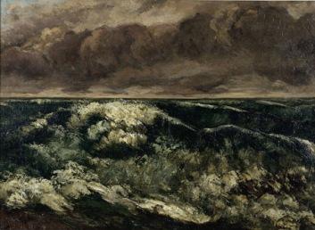 Gustave Courbet, La Vague, 1869, Huile sur toile, H. 66 ; L. 90 cm. (C.) et source, Musée des Beaux Arts de Lyon