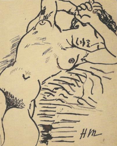 Nu fauve, 1906, encre sur papier, 27 x 21,5 cm, Coll. fondation Pierre et Maria-Gaetana Matisse, New York.(C.) Succession H. Matisse