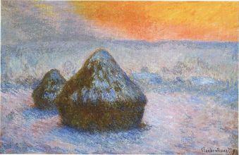 Claude Monet, Meules (crépuscule, effet de neige), 1891, huile sur toile, 65,3 × 100,4 cm, Institut d'art de Chicago. Source et (C.) Stuckey, Charles F., Claude Monet 1840-1926