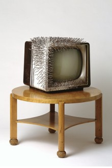 "Günther Uecker ""TV auf Tisch"" (TV on Table) 1963 Wood, TV, nails, glue 47 1/4 x 39 3/8 in."