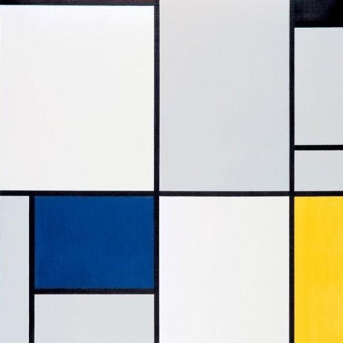 Piet Mondrian, 1921, Tableau 1, avec rouge, noir, bleu et jaune