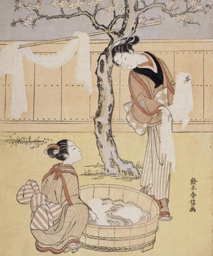 suzuki-harunobu-femmes-a-la-lessive-sous-les-cerisiers-en-fleurs-1765-1770