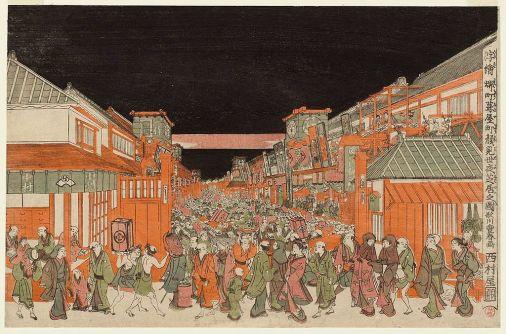 utagawa-toyoharu-vue-en-perspective-des-thea%cc%82tres-aux-quartiers-sakai-cho-et-fukiya-cho-en-soiree-1770