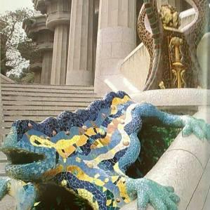 Antoni Gaudi, Parc Güell, iguane multicolore à l'entrée (Reto Guntli)