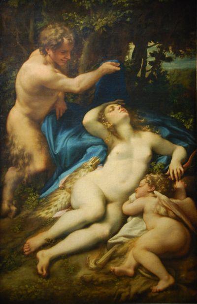 Corrège, Vénus et l'Amour endormis découverts par un satyre, 1525