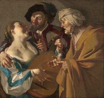 Dirck van Baburen, L'Entremetteuse, v.1622, huile sur toile, 101,6 x 107,6 cm. Musée des Beaux Arts de Boston, Source Google Art Project