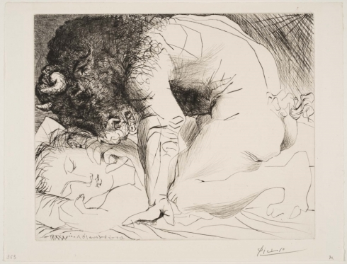 Picasso, Minotaure caressant du mufle la main d'une dormeuse