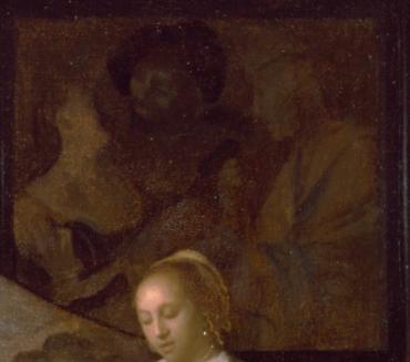 Johannes Vermeer, Le Concert, détail, L'Entremetteuse