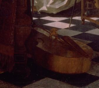 Johannes Vermeer, Le Concert, détail, la viole de gambe