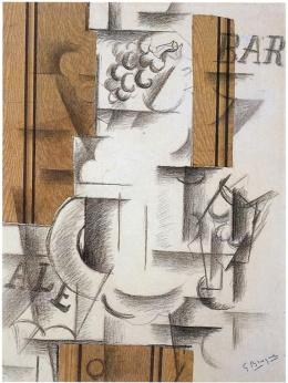 Georges Braque, Compotier et verre, 1912, huile et sable sur toile, 50 × 65 cm, The leonard A.Lauder Cubist Trust © Adagp, Paris 2013