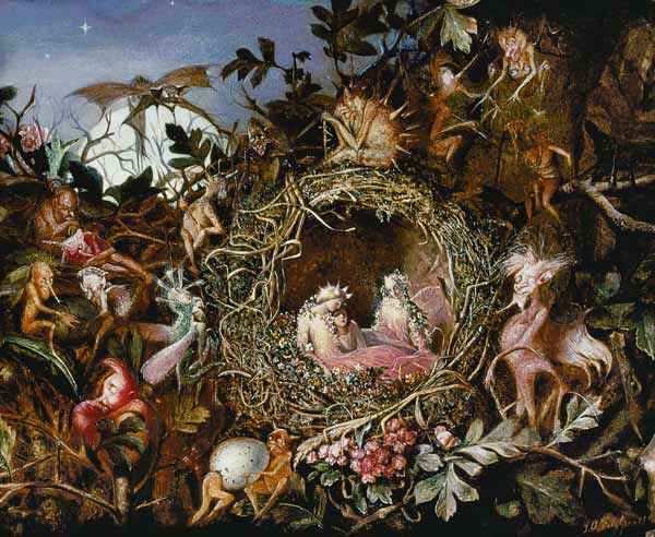 Fairy lovers in a bird's nest - John Anster Fitzgerald (1860)