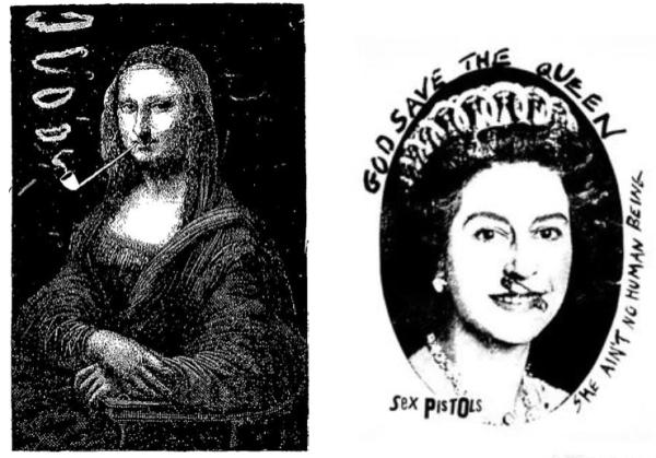 La Joconde fumant la pipe - Sapeck - God save the queen - Reid.png