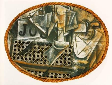 Pablo Picasso, Nature morte à la chaise cannée, Huile sur toile cirée entourée de corde, 1912, 29 x 37 cm, Musée national Picasso, Paris