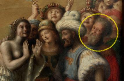 Piero Di Cosimo, Andromède libérée par Persée, 1510, détail. L'autoportrait caché de Piero Di Cosimo