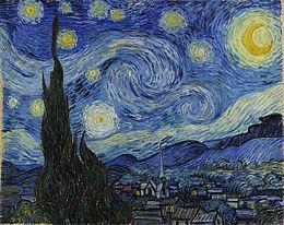 La Nuit étoilée -cyprès et village), Vincent Van Gogh, 1889. Huile sur toile, 73.7 x 92.1 cm, New York, The Metropolitan Museum of Modern Art