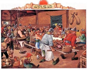 Parodie du Repas de noce de Bruegel par Albert Uderzo, « Astérix chez les Belges » 1979