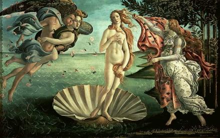 La naissance de Vénus - S.Botticelli (original), vers 1484. Tempera, 1,72 m x 2,78 m, conservé à la Galerie des Offices