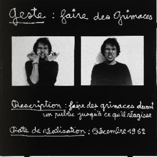 Ben, Geste : faire des grimaces, 1962. Crédit : Ben
