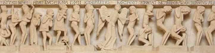 Vue du portail de la cathédrale Saint-Lazare d'Autun, détails du linteau