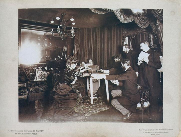 H. Mairet, Lévitation de table par Eusapia Palladino chez Camille Flammarion, 25 novembre 1898, France.