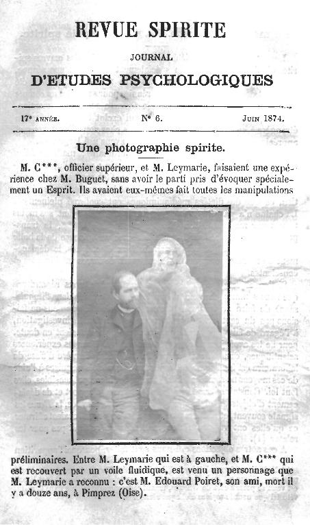Revue Spirite, Une du numéro de juin 1874 avec une photographie spirite. Source et (C.) Centre Spirite Lyonnais