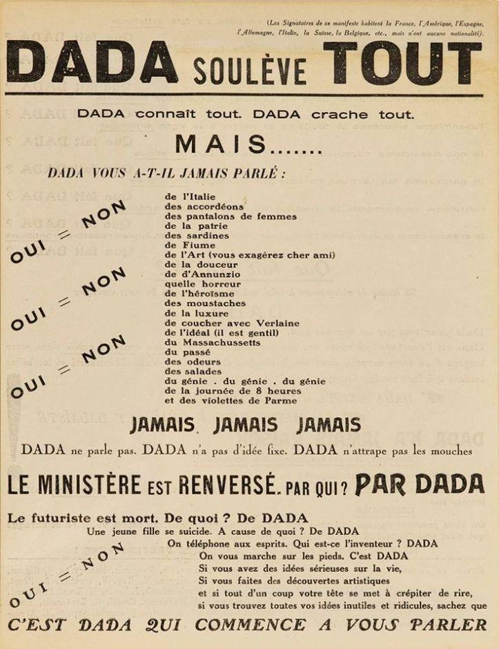 12 janvier 1921, tract ''dada soulève tout''