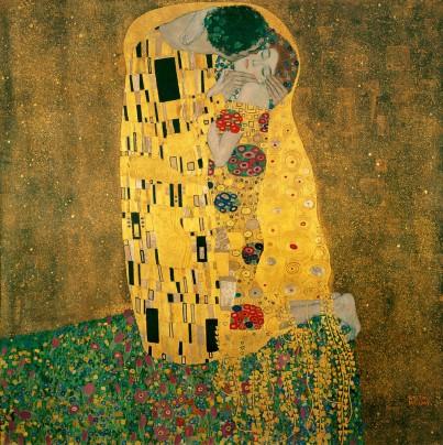 Gustav Klimt, Le Baiser, 1907, huile et feuille d'or sur toile, 180 x 180cm. Image issue de Wikipedia