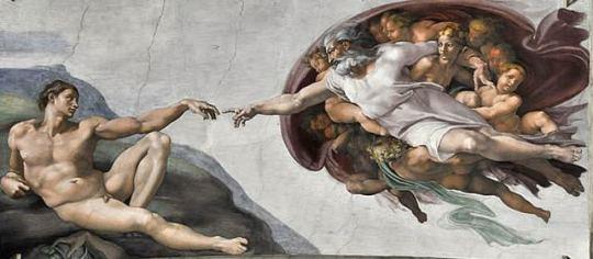 Michel-Ange - La création d'Adam détail