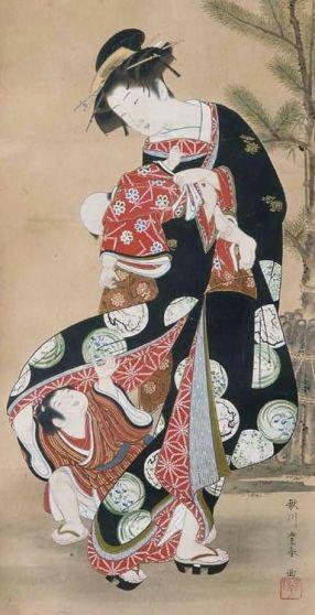 Utagawa Toyoharu, représentation d'une bijin, années 1770