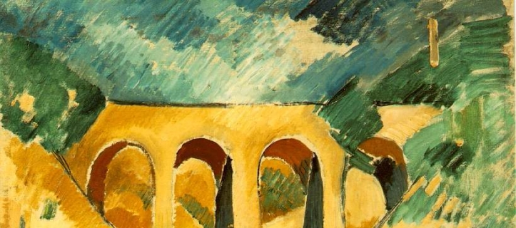 Georges Braque, Le viaduc à l'Estaque, 1908, détail