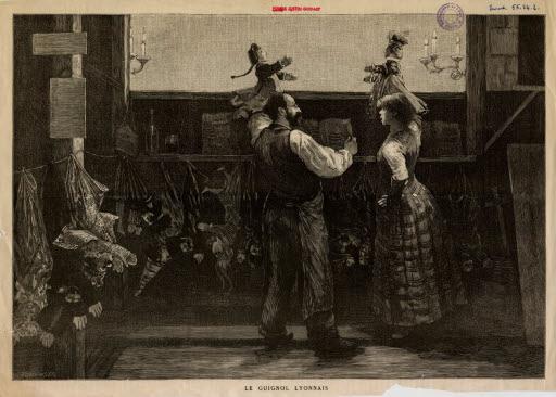 Coulisse d'un castelet, Lithographie de Bellenger Albert (1846-1914), Musée des Marionnettes du Monde de Lyon