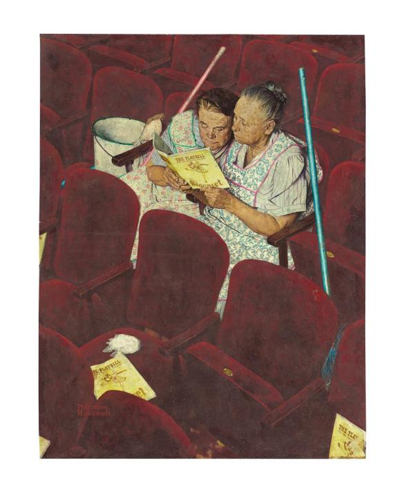 Norman Rockwell - Chair woman at the theater
