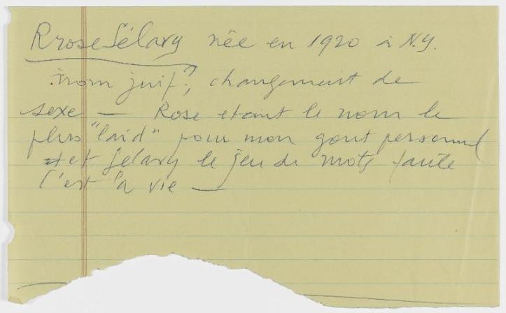 Marcel Duchamp, note Rrose Sélavy