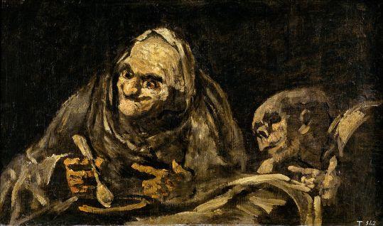 Francisco de Goya, Deux vieillards mangeant de la soupe, 1819-1823. Huile sur plâtre transférée sur toile, 49,3 × 83,4 cm, musée du Prado à Madrid.