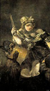 Francisco de Goya, Judith et Holofernes, 1819-1823. Peinture sur plâtre transférée sur toile, 146 x 84 cm, musée du Prado à Madrid.