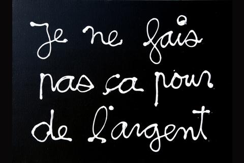 Ben Vautier, Je ne fais pas ça pour de l'argent, photo Galerie Taiss, issu du site imago.blog.lemonde.fr
