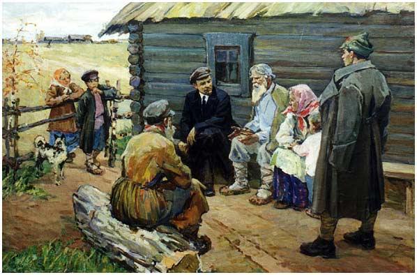 Evdokiya Usikova, Lénine avec des paysans, 1959