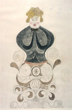 Joseph Askew, stylised figure, crayon et aquarelle s.d © Dumfries and Galloway Libraries, Information and Archives Ewart Library. Image issue de nova.fr