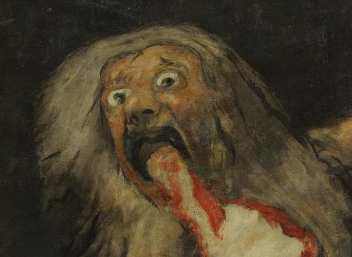 Francisco de Goya, Sans titre dit Saturne dévorant un de ses fils, 1819-1823. Détail.