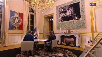 Président français, Emmanuel Macron et trois journalistes de TF1, peinture d'Obey Giant, alias Shepard Fairey