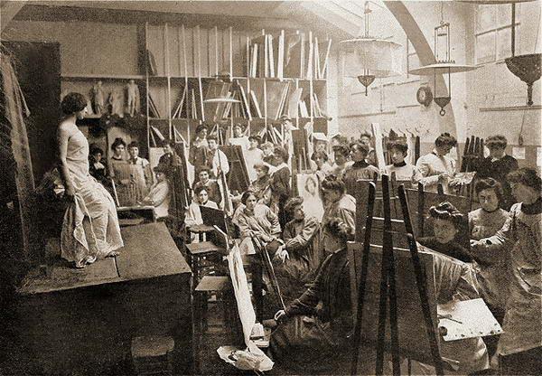 Une séance de modèle vivant dans l'Académie Julian